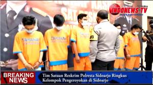 , Tim Satuan Reskrim Polresta Sidoarjo Ringkus Kelompok Pengeroyokan di Sidoarjo,